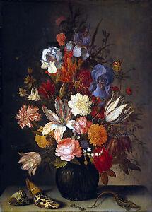 Still Life with Flowers by Balthasar van der Ast 100% Cotton Canvas Picture NEW