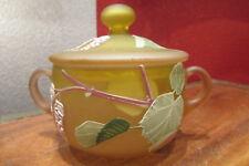 ancienne bonbonniere pot couvert en verre emaillé decor de feuillage epoque 1950