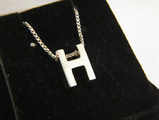 "STERLING SILVER 925 Letter ""H"" HEAVY INITIAL PENDANT NECKLACE 18"" Box Chain"