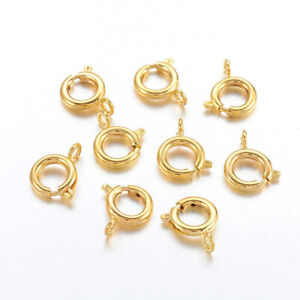 200 pcs Golden Brass Spring Ring Clasps  Ideal for Jewelry Making 9mm Hole 2mm