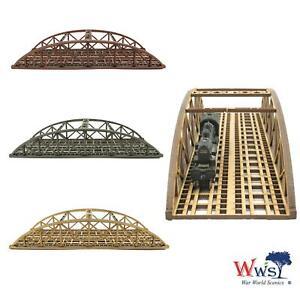 WWS Double Track N-Gauge Red MDF Railway Bowstring Bridge 200mm