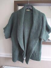 TU Size 10 green hip length part wool short sleeve non fastening cardigan