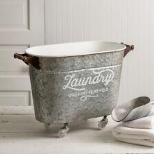 Rolling Oval Laundry Bin Basket Hamper Farmhouse Vintage Country Look