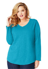 New Just My Size 3X  Cotton Blend Center Seam L/S V Neck Tee Top Bold Blue Heath