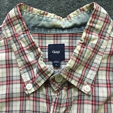 Gap Red White Plaid Button Shirt Large Long Sleeve A01