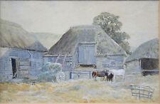 Antico Farm Yard & edifici Acqua Colore da Walter FRATE STOCK 1842 - 1915