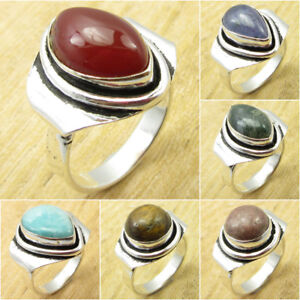 Many SIZE, Many STONE Ring ! 925 Silver Plated RED FIRE CARNELIAN & Other Gems