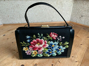 Handtasche schwarz bunt Goblin Blumen Romantik Art Deco 40er vintage