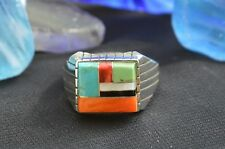 Modernistic Navajo Sterling Silver Ring 6 Different Stones Multi Inlay Size 12.5