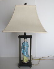 "Rare Antique Chinese Republic Period Famille Rose Man Figurine Lamp 24"" tall"