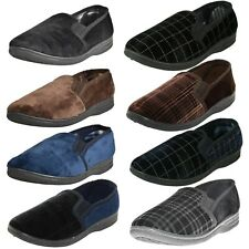 New Mens Slippers Twin Gussets Check Slip on Bedroom Quality Mules Shoes