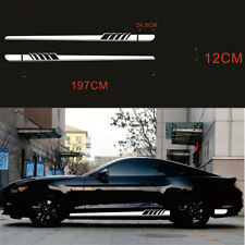 Auto Both Sides Body Stickers Stripe Graphic Vinyl Racing Sports Styling White