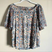 Lucky Brand Orange Blue Peasant Open Back Short Sleeve Top Womens Size Large
