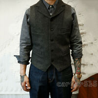 Mens British Style Wool Blend Lapel Collar Tweed Casual Vest Waistcoat Plus Size
