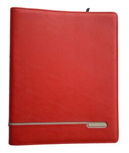 "Vintage Dayrunner Red Leather 3-Ring Binder Zip-Around 13"" X 10"" Pocket Folio"