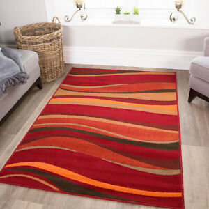 Warm Red Brown Burnt Orange Waves Rug Quality Best Small Large XL Mats 8 Sizes