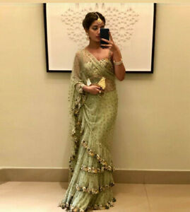 INDIAN SAREE BLOUSE NEW DESIGNER WEDDING RECEPTION SUIT FLORAL PARTY NET SARI