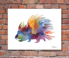 Porcupine Abstract Watercolor Painting Art Print by Artist Dj Rogers