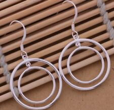 925 Sterling Silver Round Hoop Drop Dangle Hook Earrings Women's Fashion Jewelry