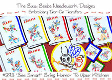 #293 *Bee Smart* Bumble Bee Embroidery Iron On Transfer Set