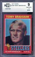 1971 Topps #156 Terry Bradshaw Rookie Card BGS BCCG 9 Near Mint+