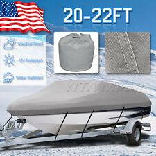600D Heavy Duty  20' 21' 22ft Trailerable Waterproof Boat Cover V-Hull Beam 100""