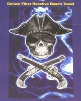 New Blue Skull Pirate Guns Crossed Bath Beach Pool Gift Towel NWT Eye Patch Hat