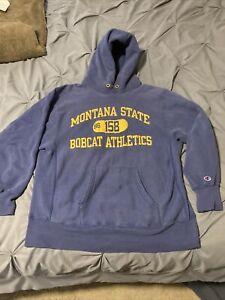 Vintage XL Montana State University Cats MSU Reverse Weave Champion Hoodie Hoody