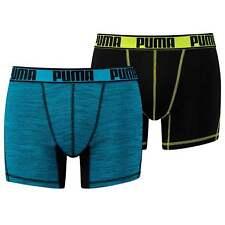 PUMA Men's Sport Active Microfiber 2-Pack Boxers, Trunks, Black / Lime / Blue
