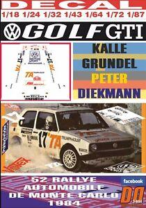 DECAL VOLKSWAGEN GOLF GTI K.GRUNDEL R.MONTECARLO 1984 9th (06)