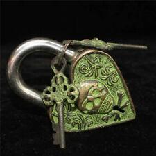 "4.72"" Collection Old Chinese bronze Handmade heart-shaped Padlocks Key Lock s83"