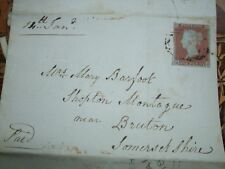 VICTORIAN PENNY RED BROWN USED STAMP WITH CANAL OFFICE LETTER, LETTERD R.H, 1848