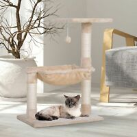 PawHut Cat Activity Tree Kitten Play Tower Palace Two-Tier w/ Sisal Scratching