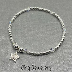 Sterling Silver 925 Beaded Stretch Stacking Bracelet With Sparkly Star Charm