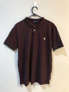 Paul Smith Mens Maroon Organic Cotton Pique Zebra Logo Polo Shirt Size XL