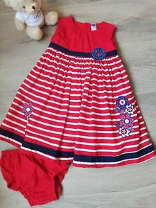 Little Girls M&Co Red Striped Embroidered Dress and Knicker Set Age 12-18 months