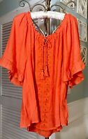 NEW~Plus Size 3X Orange Lace Crochet Boho Shirt Top Peasant Blouse