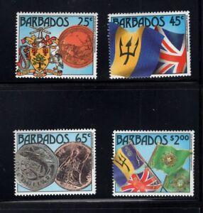 Barbados 1987 Country Arms Seal Coins Flags Silver Dollar MNH SG 849-852