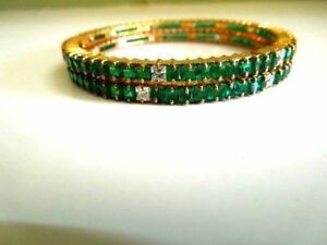 Indian Green Cubic Emerald Cz Stone Bracelet Gold plated Kada Bangles - 2/6 2pc