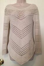 Studio Liz Claiborne Sweater Small Ivory White Crochet Knit Pointed Hem BOHO