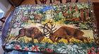 "Vintage Rug Throw Tapestry Deer Buck Forest Scene Made In Belgium 69"" x 47"""