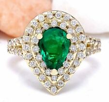 3.00 Carat Natural Emerald 14K Solid Yellow Gold Diamond Ring