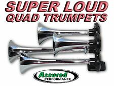 Quad Trumpet Train Air Horn for Cars Trucks Motorhomes RV Chrome 135db Solenoid