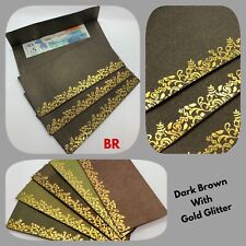 5 X Money Gift Glitter Envelopes Wedding EID Shagun Salami Cash Gift Gold Wallet