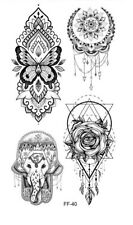 High Quality 19cm x 9cm Temporary Tattoo Mandala Elephant Butterfly Eye /-b648-/