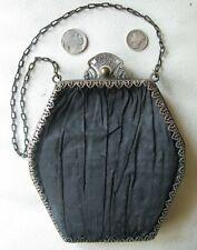 Antique Victorian Silver Floral Filigree Frame Black  Silk Purse DORIS VANITY