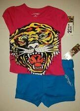 Ed Hardy Girls 2 Pc Pink & Blue Tiger Set Shirt & Shorts Outfit Size 3T
