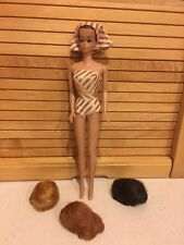 Vintage Fashion Queen Barbie With Original Swimsuit/Matching Headcover & 3 Wigs