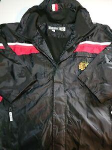 NHL Chicago Blackhawks CCM Hooded Fleece Lined Jacket Men's Large Hockey