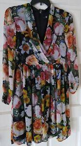 Leslie Fay Long Sleeve Midi Floral Dress SIZE 10